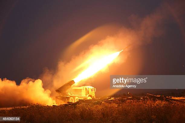Kurdish Peshmergas bombing to area of Islamic State during the fight against IS militants to regain the control of the town of Celavle in Diyala...