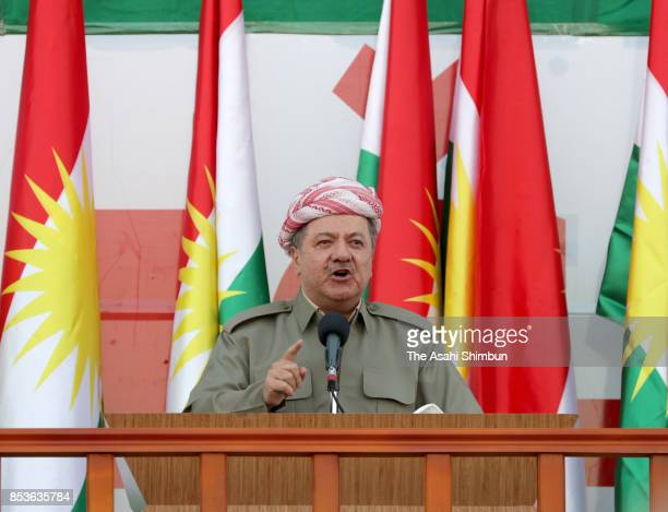 Kurdish President Masoud Barzani addresses during a rally for the upcoming referendum for independence of Kurdistan on September 22 2017 in Erbil...