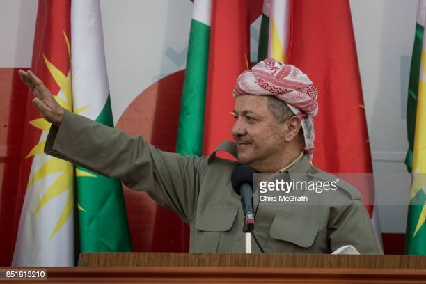 Kurdish President Masoud Barzani speaks to supporters during a rally for the upcoming referendum for independence of Kurdistan on September 22 2017...