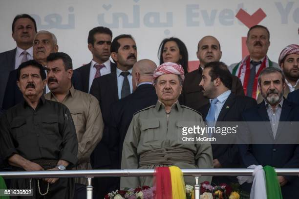 Kurdish President Masoud Barzani waits to address the crowd during a rally for the upcoming referendum for independence of Kurdistan on September 22...