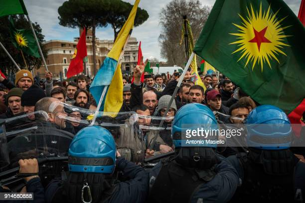 Kurdish protesters clash with Italian Police during a demonstration against the visit of Turkish president Recep Tayyip Erdogan on February 5 near...