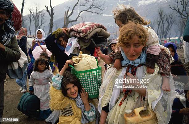 Kurdish refugees at a camp in the mountains near Isikveren, in south-eastern Turkey, April 1991. The camp straddles the Turkish-Iraqi border and is a...