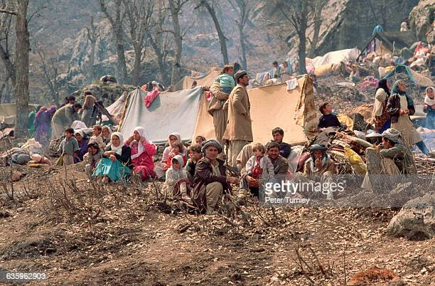 Kurdish refugees from Iraq have crossed into Turkey and have made a camp on a mountain