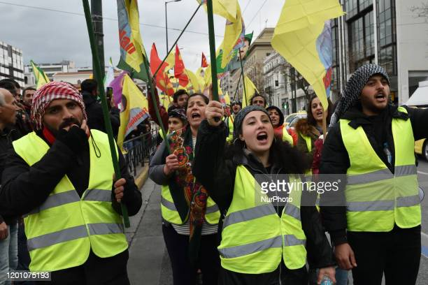 Kurdish supporters of Kurdistan Worker's Party march on February 15 2020 in central Athens the final leg of a march that started two days ago from...