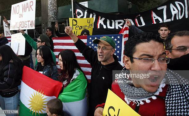 Kurdish supporters protest the potential Turkish invasion of the Kurdish region of Iraq outside United Nations headquarters November 5, 2007 in New...