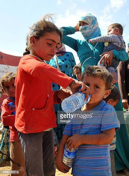Kurdish Syrian refugee girl helps her brother to drink water after crossing the TurkishSyrian border near the southeastern town of Suruc in Sanliurfa...
