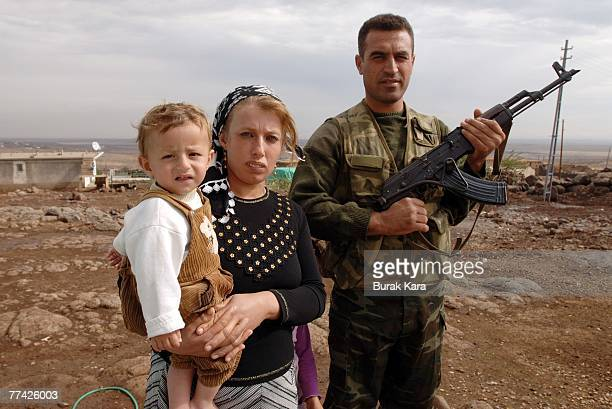Kurdish village guard Bahri Eren and his family protect their village of Yoruk against PKK attacks on civilians near the southeastern Turkish city of...