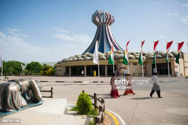 Kurdish visitors at the Halabja Monument in Halabja, Iraq