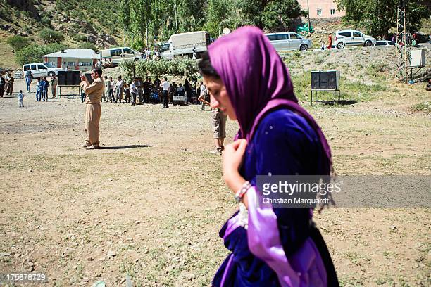 Kurdish woman during a wedding ceremony at a small village in the mountains of Hakkari on June 06 2013 Hakkari is a city and the capital of the...