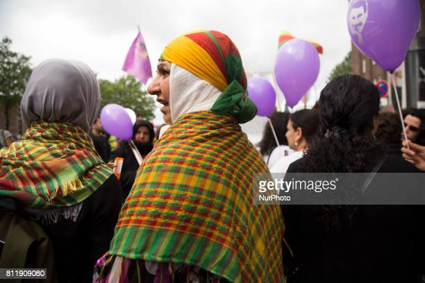 Kurdish woman takes a part in manifestacion during G 20 summit in Hamburg on July 8 2017