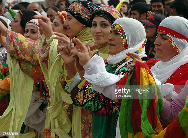 Kurdish women celebrate Newroz in southern Turkish city of Diyarbakir March 21 2007 in Diyarbakar Turkey Newroz which means 'new day' in Kurdish...