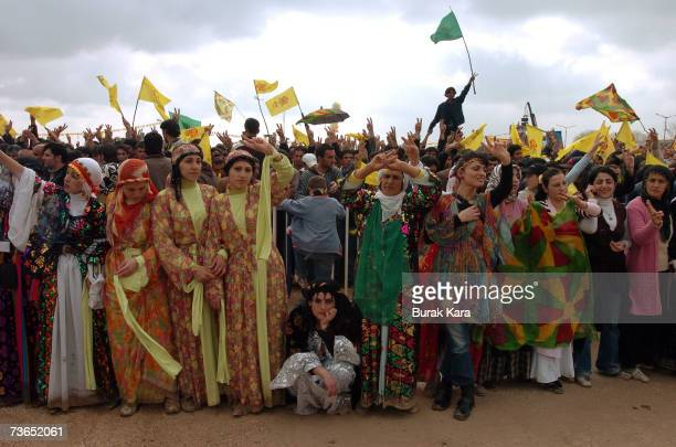 Kurdish women celebrate Newroz in southern Turkish city of Diyarbakir March 21 2007 in Diyarbakar Turkey Newroz which means 'new day' in Kurdish...