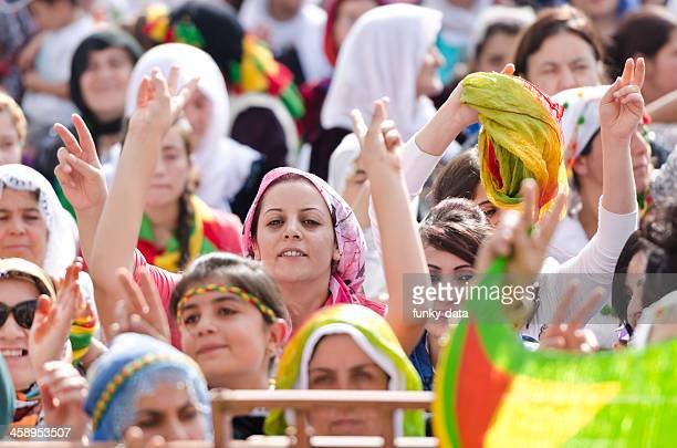Kurdish women protesting in political rally