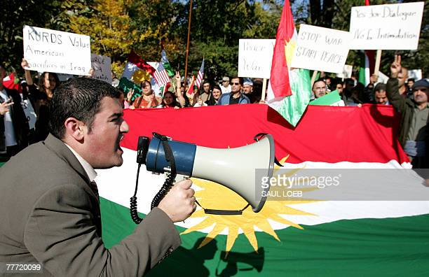 KurdishAmericans demonstrate against a possible invasion by Turkey of the Kurdish region of Northern Iraq at Lafayette Park across the street from...