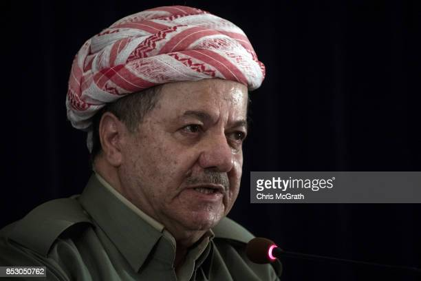 Kurdistan President Masoud Barzani speaks to the media at a press conference on September 24, 2017 in Erbil, Iraq. President Barzani announced that...