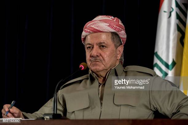 Kurdistan President Masoud Barzani speaks to the media at a press conference on September 24 2017 in Erbil Iraq President Barzani announced that the...