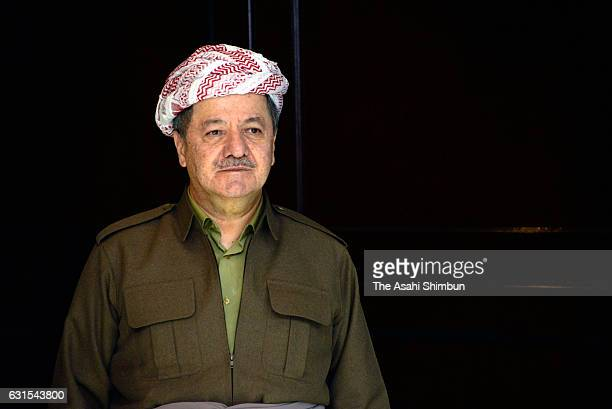 Kurdistan Region President Masoud Barzani is seen during his meeting with Japanese Vice Foreign Minister Kentaro Sonoura on January 9 2017 in Erbil...