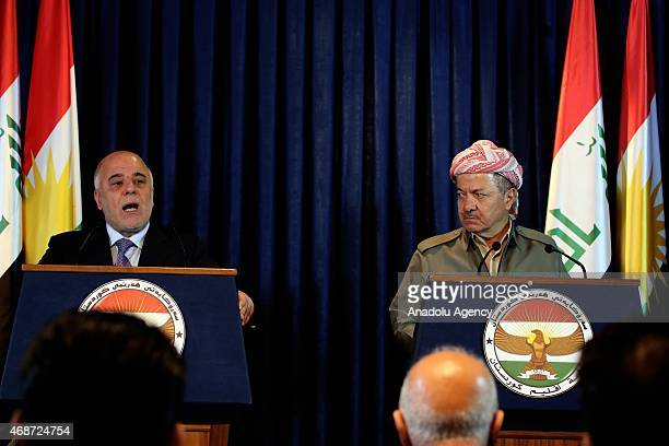 Kurdistan Regional Government President Masoud Barzani and Iraqi Prime Minister Haidar al-Abadi hold a joint press conference after their meeting at...