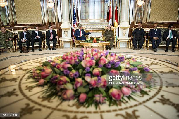 Kurdistan regional government president Massud Barzani meets with US Secretary of State John Kerry at the presidential palace in Arbil the capital of...