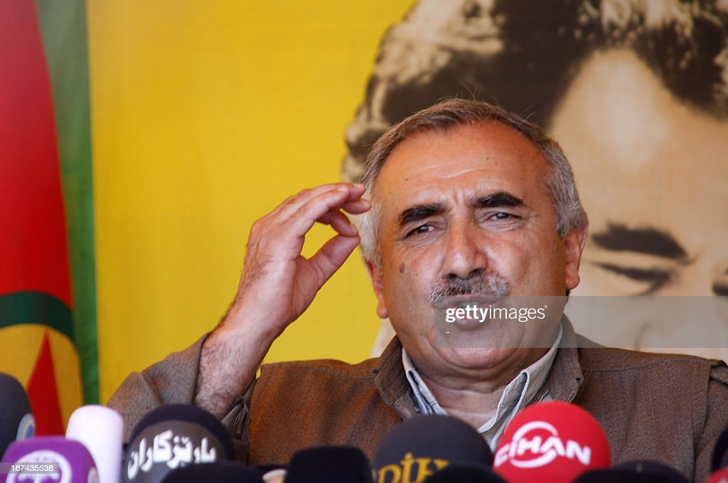 Kurdistan Workers' Party (PKK) leader, Murat Karayilan gives a speech on April 25, 2013 in the Qandil mountain, the PKK headquarters in northern Iraq. Kurdish rebels announced they would on May 8, 2013 begin withdrawing from Turkey into their safe haven in northern Iraq amid a peace drive between Ankara and the rebel movement.
