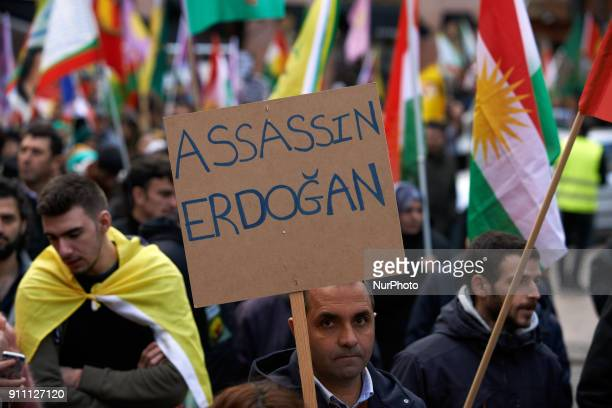 Kurds demonstrate against the turkish attack on Afrin in Syria launched by Erdogan against what he called 'the terrorists of the YPG' A kurdish man...
