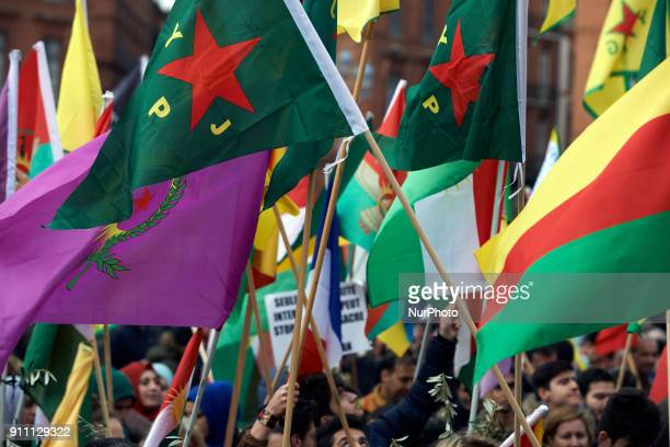 Kurds demonstrate against the turkish attack on Afrin in Syria launched by Erdogan against what he called 'the terrorists of the YPG' On January 27th...