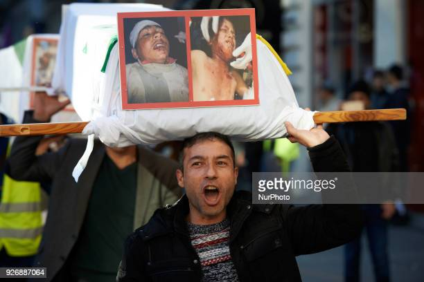 Kurds demonstrate against the Turkish attack on Afrin in Syria socalled 'olive branch' launched by Erdogan against what he called 'the terrorists of...