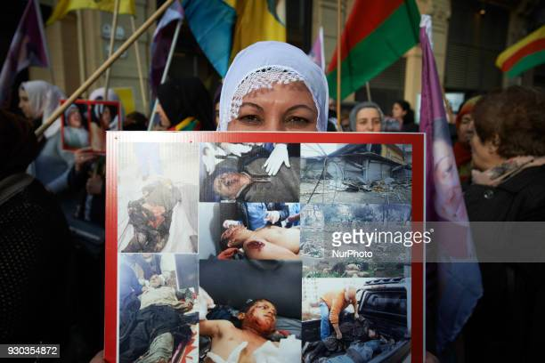 Kurds demonstrate to pay tribute to French fighter Kendal Breizh killed by turkish forces in Afrin They also protest against the turkish attack on...