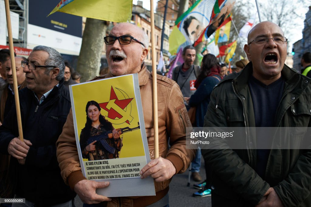 Kurds pay tribute to French fighter Kendal Breizh killed in Afrin by Turkish forces : News Photo