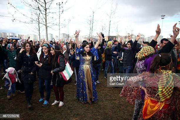 Kurds from Turkey and Syria celebrate Kurdish New Year on March 21 2015 in Diyarbakir Turkey Diyarbakir has one of the largest Kurdish populations in...