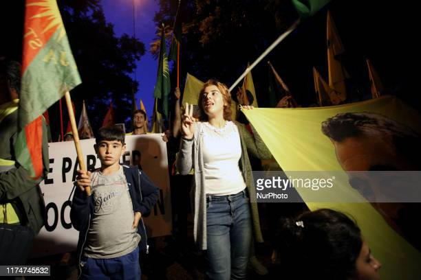 Kurds living in Athens protest near the Turkish Embassy in Athens, Greece on October 9, 2019. Kurds protest against the Turkish military offensive in...