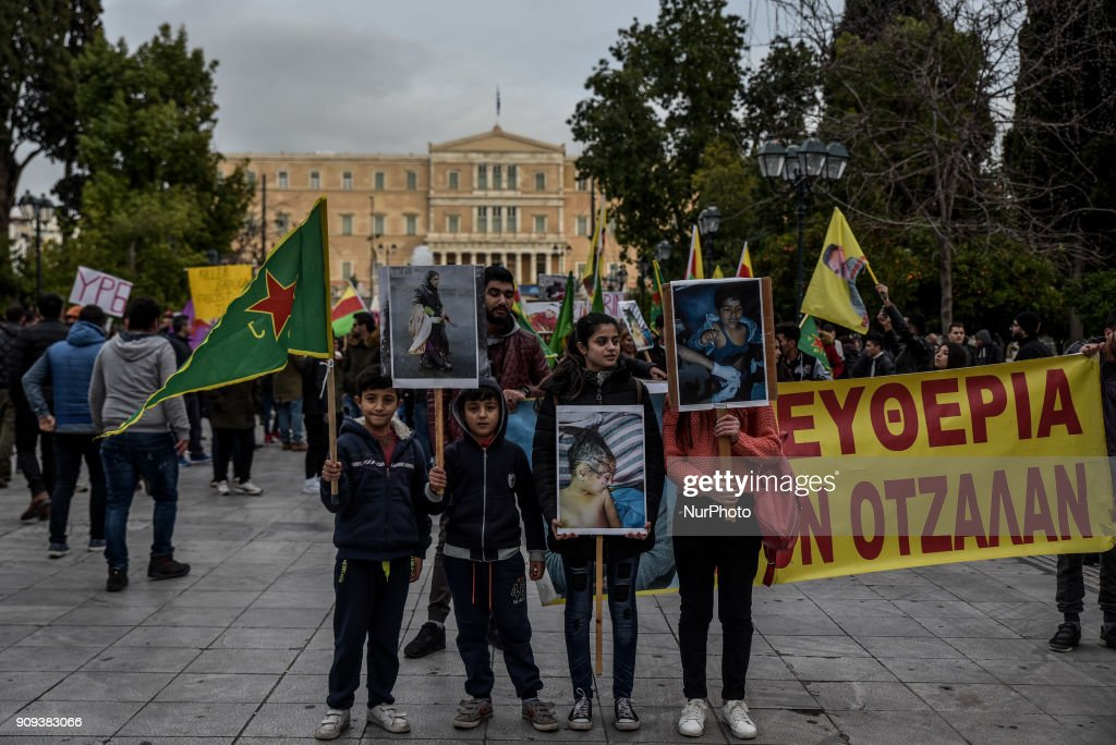 Kurds demonstrate for Afrin in Greece