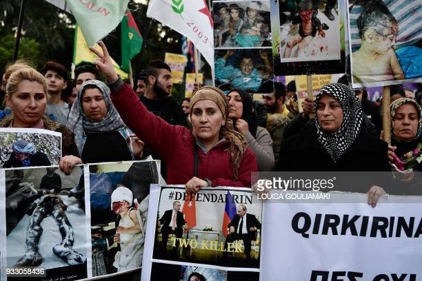 Kurds patricipate in an antiracist demonstration on March 17 marking as well twoyears of the EUTurkey deal and the closing of the borders Refugees...
