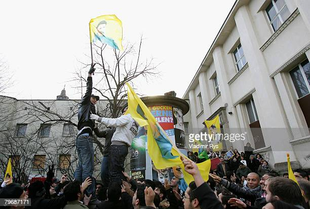 Kurds protest in front of the KoelnArena prior to the speach of the Turkish Prime Minister Recep Tayyip Erdogan on February 10 2008 in Cologne...