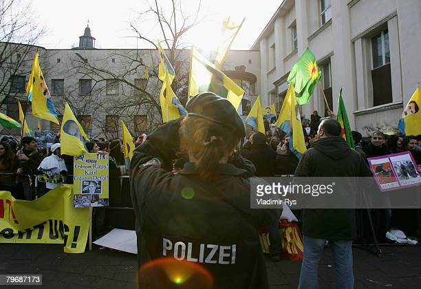Kurds protest in front of the KoelnArena prior to the speach of the Turkish Prime Minister Recep Tayyip Erdogan to the in Germany living Turks on...