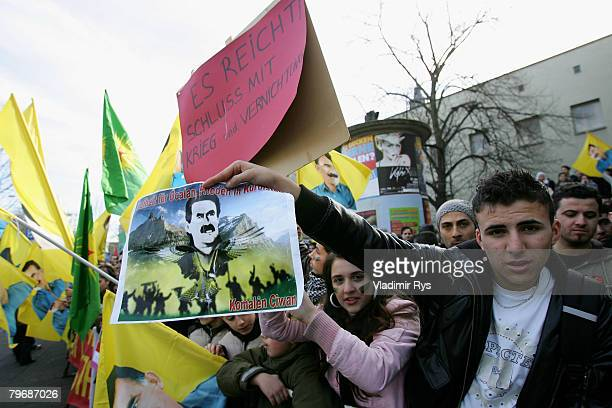 Kurds protest in front of the KoelnArena priro to the speach of the Turkish Prime Minister Recep Tayyip Erdogan at the KoelnArena to the in Germany...