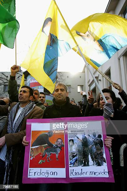 Kurds protest in front of the KoelnArena priro to the speach of the Turkish Prime Minister Recep Tayyip Erdogan speeks at the KoelnArena to the in...