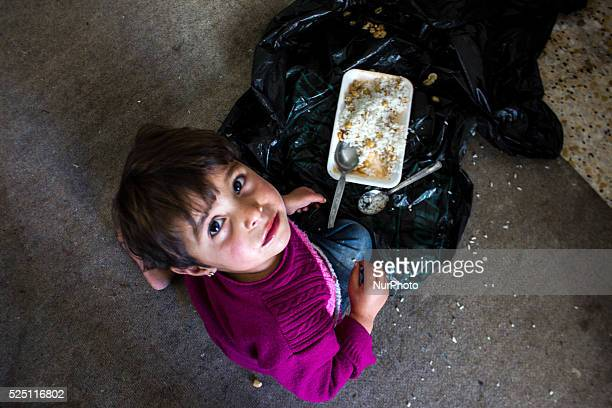 A Kurds refugee girl lives with her family in an abandoned gas station in the Turkish city of Suruc Sanliurfa province wich is located 6 kilometres...