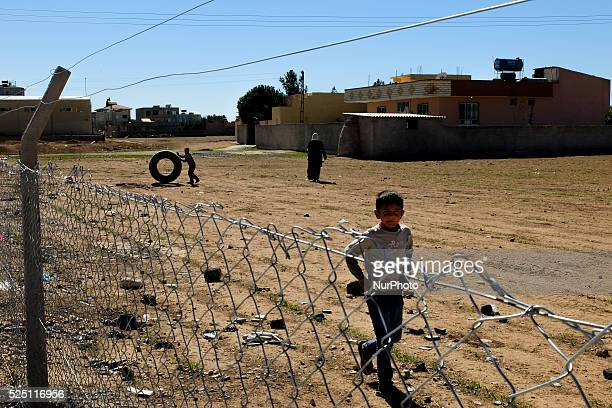 Kurds refugge boys play outside a refugge camp in the Turkish city of Suruc Sanliurfa province wich is located 6 kilometres far from the Syrian town...