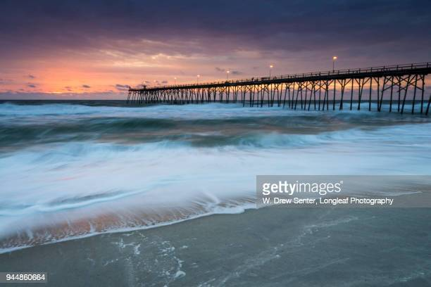 kure beach and pier - wilmington north carolina stock photos and pictures