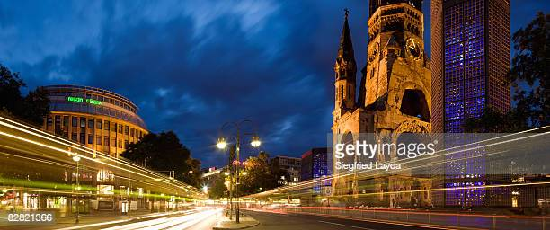 kurfurstendamm and kaiser wilhelm memorial church - kurfürstendamm stock pictures, royalty-free photos & images