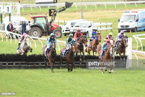 Kuridala ridden by Shane Jackson jumps during the Helloworld Portland Maiden Hurdle at Casterton Racecoure on September 10 2017 in Casterton Australia