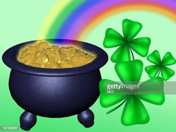 Kurk Strazdins color illustration of rainbow pot of gold and fourleaf clovers representing 'the luck of the Irish'