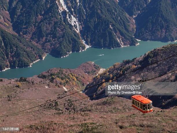 kurobe dam and cable car - 富山県 ストックフォトと画像