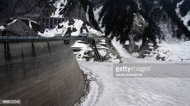 Kurobe Dam on the Kurobe river in winter and snow, Kurobe Alpine route the snow mountain