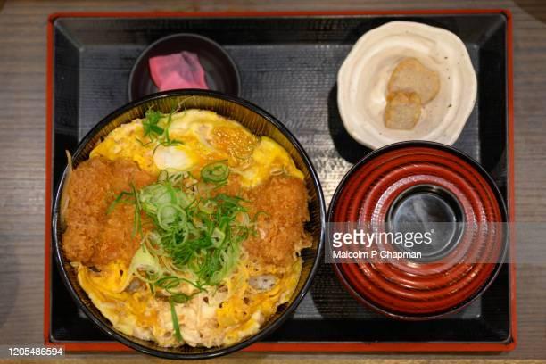 kurobuta, black pork, tonkatsu donburi rice bowl. a speciality of kagoshima, kyushu, japan - tonkatsu photos et images de collection