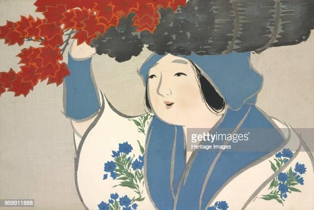 Kuroki Uri fromMomoyogusa The World of Things Vol I pub1909 colour block woodcut A Maple Tree Seller