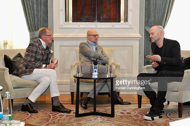 Kurt Aeschbacher IWC CEO Georges Kern and director Marc Forster talk on stage at the IWC Schaffhausen Media Breakfast held as part of the 11th Zurich...