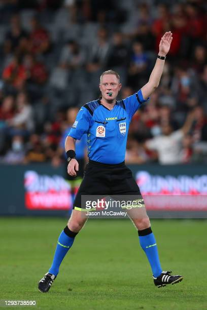 Kurt Ams referees during the A-League match between the Western Sydney Wanderers and Macarthur FC at Bankwest Stadium, on December 30 in Sydney,...