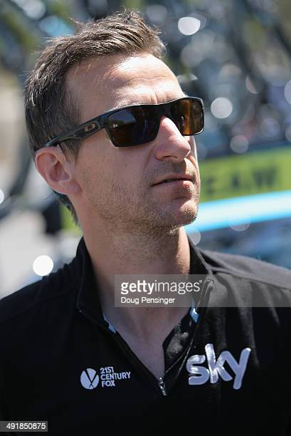 Kurt Asle Arvesen of Norway director for Team Sky prepares for stage seven of the 2014 Amgen Tour of California from Santa Clarita to Pasadena on May...